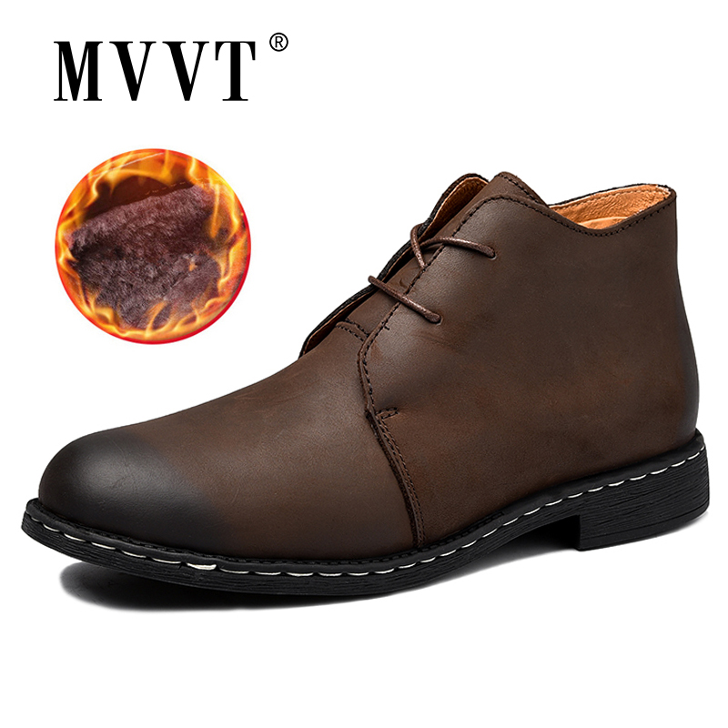 MVVT Genuine Leather Boots Men Winter Snow Quality  Military Wear-Resisting Combat boots