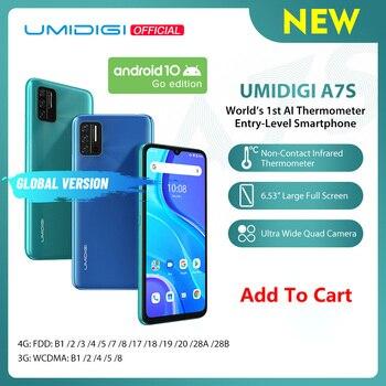 Перейти на Алиэкспресс и купить Предпродажа UMIDIGI A7S 6,53 дюйм20:9 большой полный экран 32 Гб 4150 мАч Тройная камера Сотовый телефон инфракрасный датчик температуры Тип C