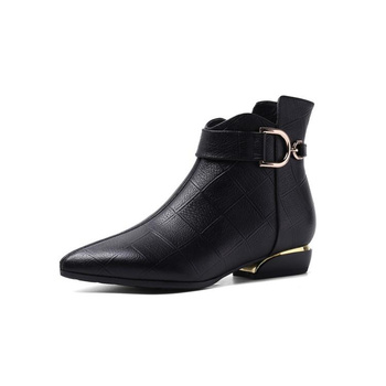 Dilalula New Arrival Natural Leather Women Ankle Boots 2019 Shoes Woman Pointed Toe Low Heels Buckle Chelsea Women Office Shoes