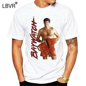 1990's Baywatch TV Show cankurtaran Mitch Buchannon yetişkin T-Shirt pamuklu tişört tarzı yuvarlak