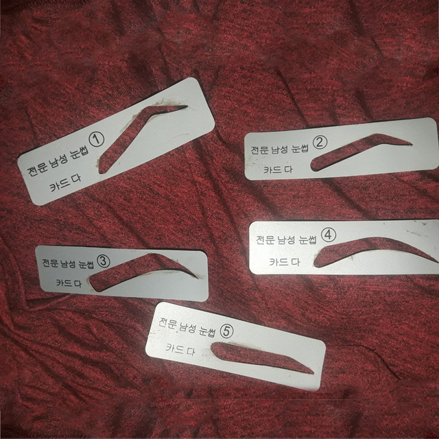 Fashion Unisex 5Pcs Eyebrow Template Stencils Reusable Brow Grooming Card Trimming Shaping Beauty Tool 4