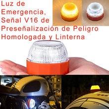 aprobado por V16 Faro de emergencia led para coche, luz intermitente de seguridad para carretera, linterna de advertencia,Señal V16 de Preseñalización de Peligro Homologada y Linterna, para Coches y Motocicletas