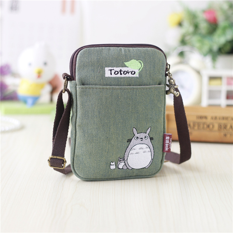 Fashion Cartoon Totoro Crossbody Bag For Women Girls Canvas PU Leather Mini Shoulder Bags Female Clutch Purse And Handbags