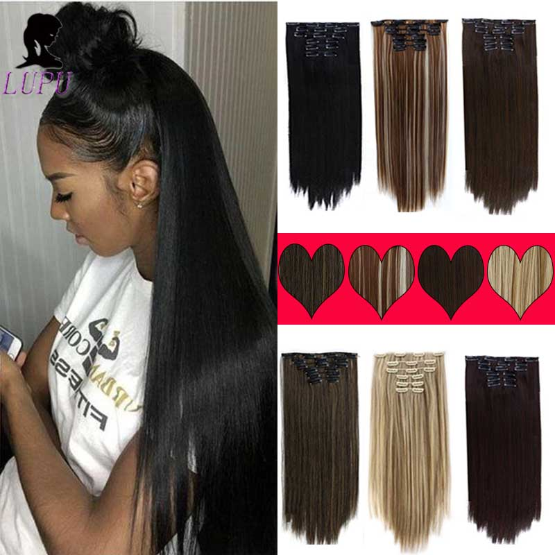LUPU 6PCS/Set Long Straight Synthetic Hair Extension 16Clips Clip in Hair Extensions High Temperture Fiber For Women