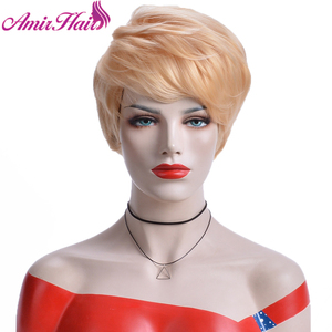 Amir corto pelucas de pelo sintético recto con flequillo insecto plata rubia peluca Cosplay diario corte Pixie resistente al calor, el pelo falso.