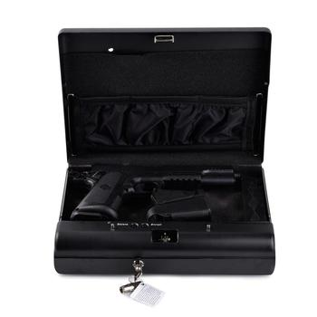 Gun Safes Portable Fingerprint Safe Box Solid Steel Security Key Lock Safes For Money Valuables Jewelry Pistol Box Mini Car Safe