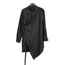 Spring summer irregular design cotton linen men shirt black