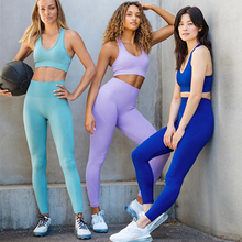 cute white halter tank top blue leggings yoga twinset for women Workout clothing for women leggings sport suits Fitness gym sportwear yoga set Cropped tank top bra running exercise tights