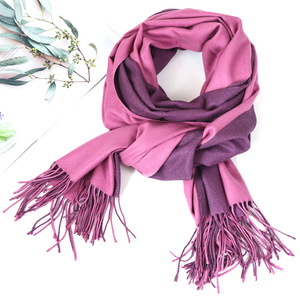 Image 3 - Bufanda de Cachemira de doble cara para mujer, pañuelo cálido para la cabeza, chales y envoltorios, manta de Pashmina suave de dos colores, Foulards, 2020