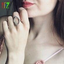 F. J4Z 100% S925 argent sterling nouveauté métal style mode femmes creux forme irrégulière bagues pour fête de mariage