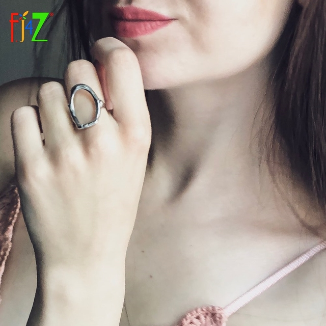 F.J4Z 100% S925 sterling silver new arrival metal style  fashion women hollow irregular shape finger rings for party wedding