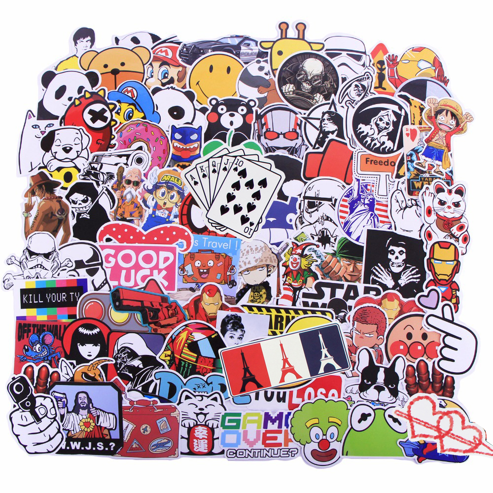 Image 2 - Random 1000 Pcs JDM Stickers Funny Cartoon DIY Cool Sticker For Car Laptop Skateboard Motorcycle Furniture Decal Not Repeat Toys-in Stickers from Toys & Hobbies
