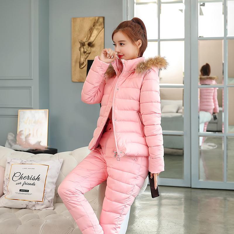 Rose chaud épais coton 2 pièces ensembles survêtement femmes hiver fausse fourrure col à capuche veste manteau + pantalon costumes femme casual