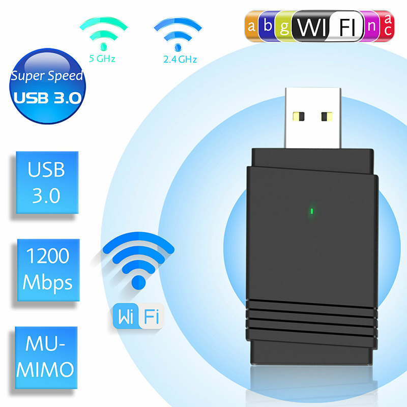 1200 Mbps USB 3.0 Wireless WiFi Adapter Dongle Dual Band Bluetooth 5.0 Built-in Dual Antenna NC99