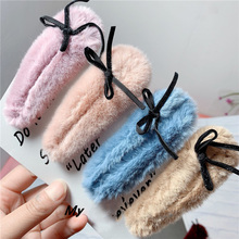 IPC Korean Winter Plush Hairpins Lovely bow-knot Hair Clip Girls Barrettes Waterdrop Women Jewelry Accessories