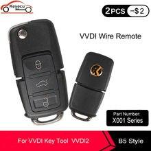 Keyecu 5 pçs/lote xhorse v-olkswagen b5 estilo preto remoto chave 3 botão para vvdi ferramenta chave x001 series