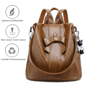Women fashion backpack wear resistant and breathable PU leather for Teenage Girls Female School Casual schoolbag travel backpack 2018 women s leather backpack monster fashion ladies schoolbag for teenager girls female cute backpack preppy casual backpack