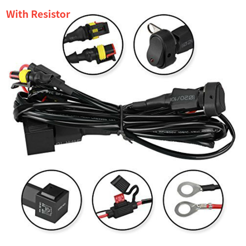 Motorcycles LED Fog Light Wiring Harness Relay Wiring With Resistor For BMW R1200 GS /ADV F800GS Motorcycle Fog Passing Light
