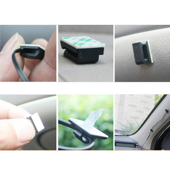 10pcs Car Drop Adhesive Cable Cord Holder Wire Clamp Management Clips 1.2 x 0.5cm image
