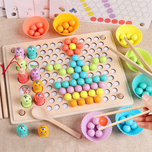 Montessori Educational Toys Wooden Clip Beads Rainbow Toy Go Games Set Dots Beads Board Games Toy Rainbow Clip Beads Puzzle