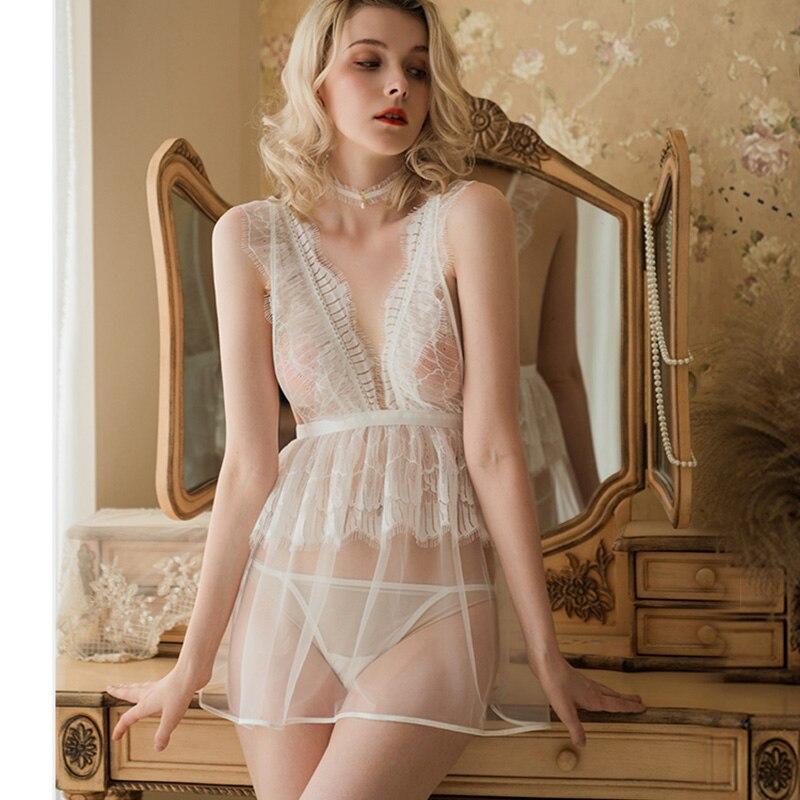 Nova sexy com decote em v camisola perspectiva feminina tentação rendas cor sólida casamento camisola de fadas vestido de dormir plissado