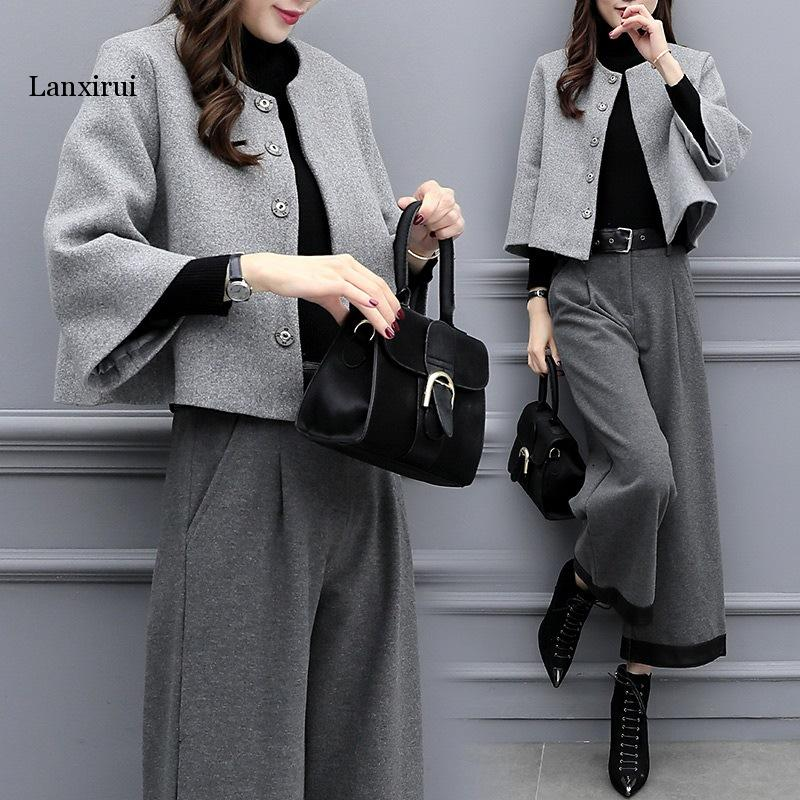 New Women's Autumn And Winter Large Size Two-piece Hidden Breasted Blended Wool Short Coat Wide-leg Pants Casual Fashion Suit