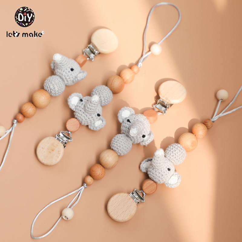 Baby Teether Childen's Goods Feeder Pacifier Nipples For Baby 1pc Elephant Nipple Chain Crochet Rodent Wooden Beads Let's Make