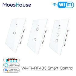 WiFi Inteligente Interruptor De Luz de Parede Painel de Vidro Tuya RF433 & Wi-Fi Vida Inteligente APP Controle Remoto Funciona Com alexa Inicial do Google 1/2/3 Gang