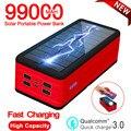 99000mah Solar Power Bank Drahtlose Schnelle Ladegerät Mit SOS LED Licht Tragbare Lade Externe Batterie Für Xiaomi Iphone Samsung