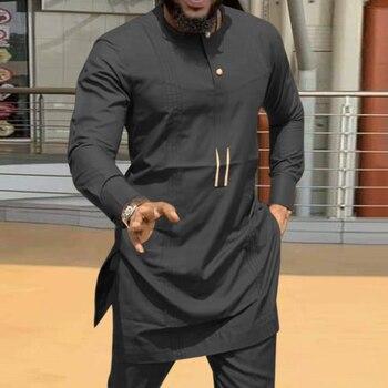 Moroccan Caftan Kaftan Men's Shirt casual Ramada Long Sleeves Dashiki Tops African Mid-Length Ethnic Muslim Man Kurta Clothing abaya dubai 1