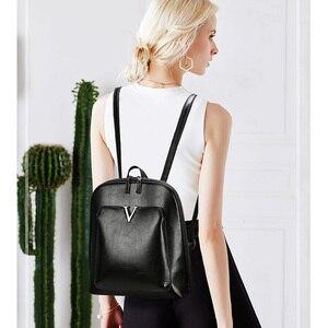 Image 5 - 2019 nouveau femmes Vintage sac à dos marque luxueux en cuir femmes sac à bandoulière grande capacité sac décole pour fille loisirs Backpac