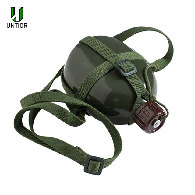 UNTIOR Aluminum Military Army Flask Wine Water Bottle Cooking Cup With Shoulder Strap Hiking Kettle Outdoor Tools 1L/2L 2