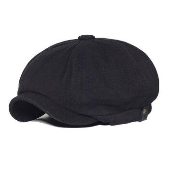 Vintage Newsboy Cap Cotton Men Woman Fashion Hat Solid Soft Gatsby Retro Driver Flat Caps Spring Autumn Casual Beret