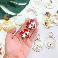 Bohemia Enamel Red Heart Evil Eyes Charm Stud Earrings For Women Fashion Jewelry