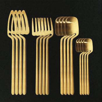 16 sztuk złota naczynia zestaw sztućców ze stali nierdzewnej strona nóż widelec łyżka zestaw sztućców kuchnia sztućce zestaw stołowy tanie i dobre opinie uniturcky CN (pochodzenie) CE UE Lfgb Metal STAINLESS STEEL Ekologiczne Na stanie Zestawy sztućców Western Dinner Knife