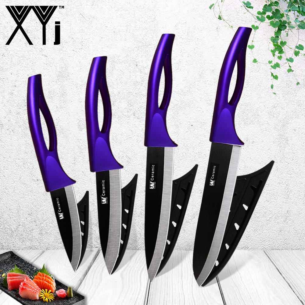 XYj Kitchen Knives Ceramic Knife Zirconia Japanese Knife Black White Paring Fruit Ceramic Cooking Knives Set Sushi Meat Cleaver