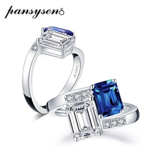PANSYSEN Top Brand Solid 925 Sterling Silver Sapphire Diamond Rings for Women Wedding Bands Anniversary Party Fine Jewelry Ring cheap 925 Sterling GDTC Prong Setting sapphire rings AI-R001 geometric TRENDY Sapphire Diamond Wedding Rings high quality fast shipping