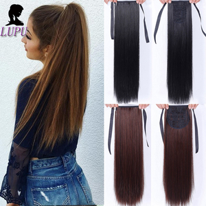 LUPU 22 Inch Clip in Drawstring Ponytail Hairpieces for Women Black Brown Heat Resistant Synthetic Long Straight Hair Extension