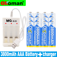 4-20PCS 1.2V 3800mAh NI-MH AAA Pre-Charged Ni-MH Rechargeable aaa Battery For Toys Camera Microphone Batteries + Charger