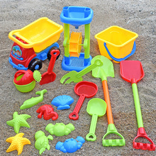 Beach Sand Toys Set with Water Wheel Dump Truck Bucket Shovels Rakes, Watering Can, Molds Outdoor Tool Kit for Kids Baby Boys