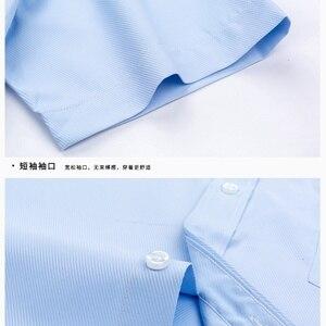 Image 5 - Herfst Mannen Plus Size Office Shirt Lange Mouw Winter Katoen 8XL 10XL 12XL Oversize Gestreepte Shirt Zakken Formele Shirt Blauw zwart
