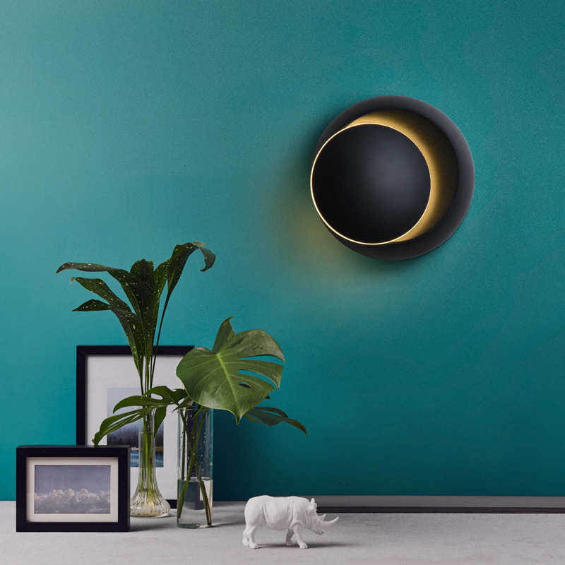 LED 벽 램프 360 학위 회전 조절 가능한 머리맡 조명 화이트 블랙 크리 에이 티브 벽 램프 블랙 현대 통로 라운드 램프