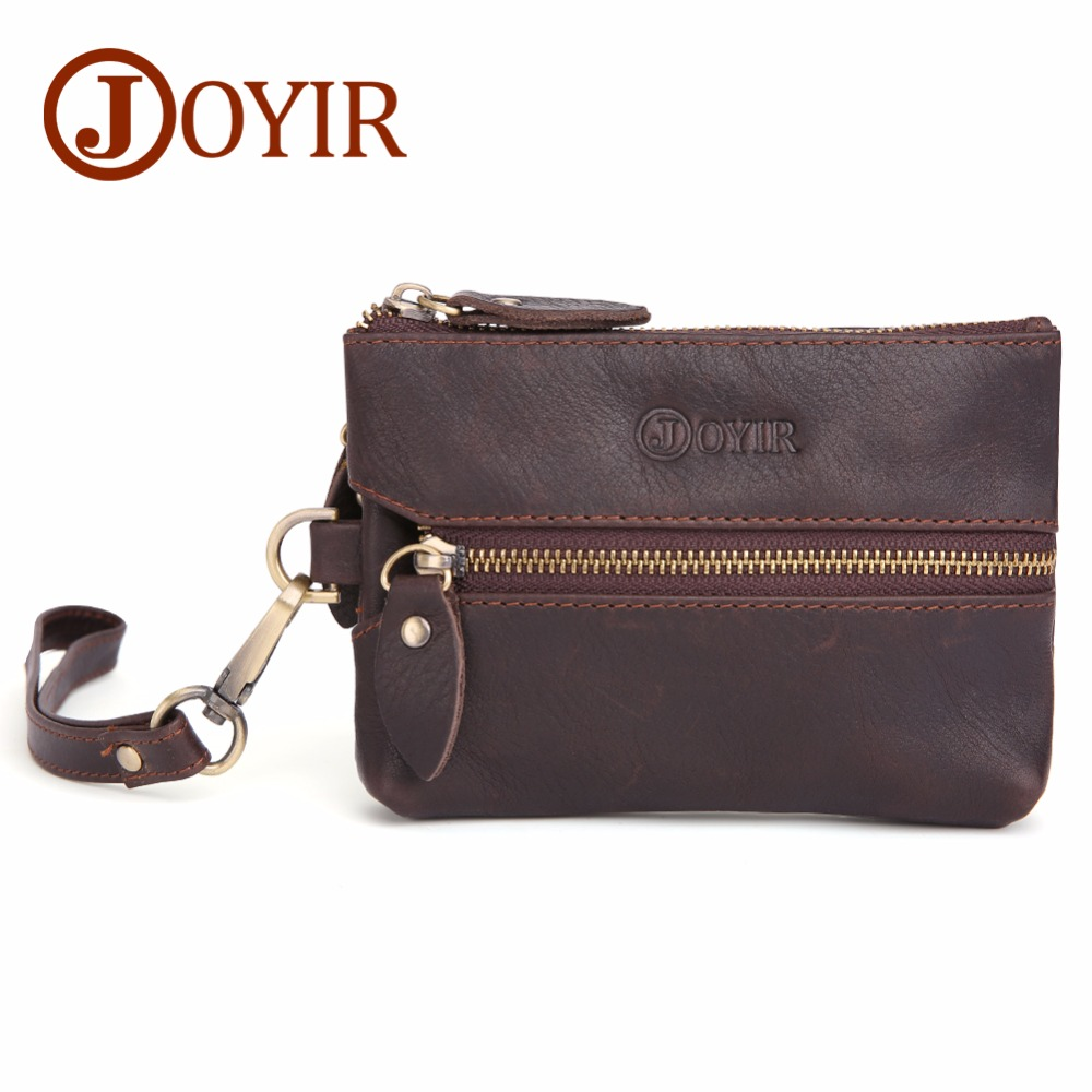 JOYIR Genuine Leather Men Key Wallet Zipper Housekeeper Key Pouch  Holder Keychain Vintage Style Walet Coin Purse Card Holder