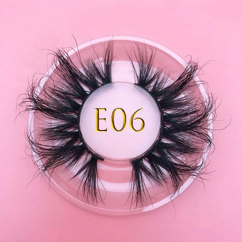 25mm E06 MIKIWI 100% handmade natural thick Eye lashes wispy makeup extention tools 3D mink hair volume soft false eyelashes