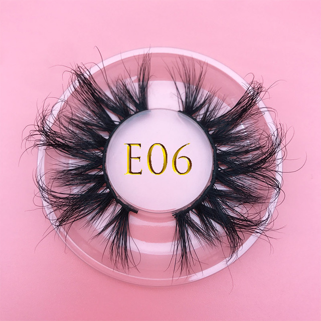 25mm E06 MIKIWI 100% handmade natural  thick  Eye lashes wispy makeup extention tools 3D mink hair volume soft false  eyelashes