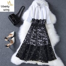 2020 Fashion OL White Long Style Shirt Lace Crochet Knee Length Skirt Women 2 Pcs Set Spring Party Office Work Suit(China)