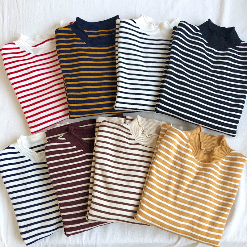 Korean Stripe Six Colors Pullover Sweater Women Knitting Womens Basic Section Woman Winter 2019