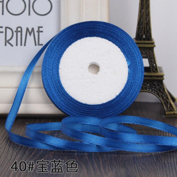 """22 метра(25 ярдов) Шелковая атласная лента 1/""""(6 мм) вечерние украшения для дома, свадьбы, подарочная упаковка, материал для рукоделия на Рождество, год - Цвет: royal blue"""