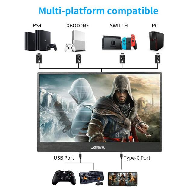 """Touch screen HD Gaming Portable Monitor 15.6"""" 2Type C(USB-C) laptop PS4 4"""
