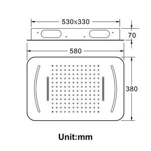 Image 5 - Роскошная светодиодсветильник насадка для душа, массажные насадки для душа из нержавеющей стали для ванной и спа, 580*380 мм, встраиваемая потолочная дождевая душевая панель